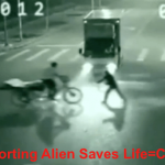 Alien Saves Mans Life In China Car Accident, Security Cam Video
