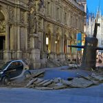 A Huge Submarine Bursts through the Streets of Milan