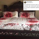 BLOODY AWFUL. Man tries to spruce up his bedroom with a red rose bed set but it looks more like a murder scene